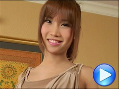 Cute ladyboy with flat chest sucks cock