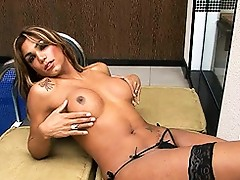 Busty tgirl Mariana playing with her juicy cock