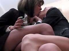Hot sissy guys getting down and dirty while ass-fucking right in the office
