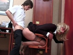 Horny sissy secretary getting his ass reamed and rammed right at lunch hour