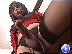 Thick tgirl teases the juice out of her thick cock