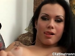 Beautiful and horny Kalena jerking off her fat dick