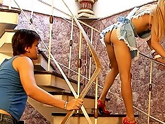 Sexy transsexual maid gets drilled
